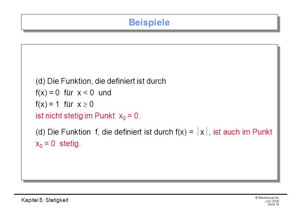 Beispiele (d) Die Funktion, die definiert ist durch f(x) = 0 für x < 0 und f(x) = 1 für x  0 ist nicht stetig im Punkt x0 = 0.