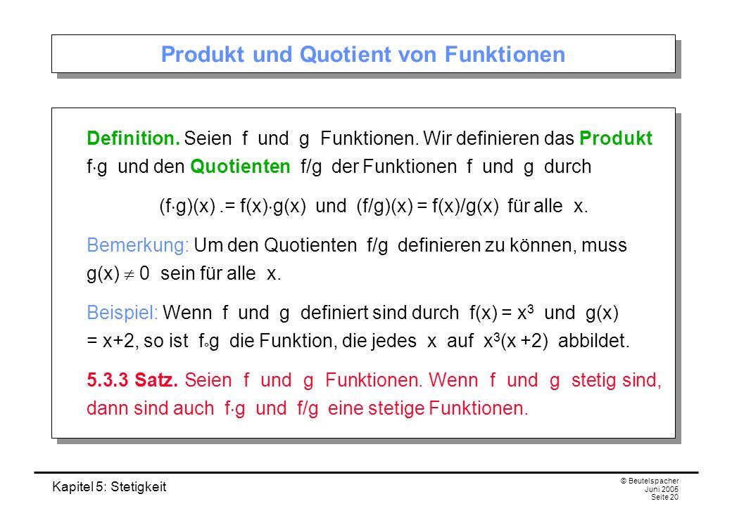 Produkt und Quotient von Funktionen