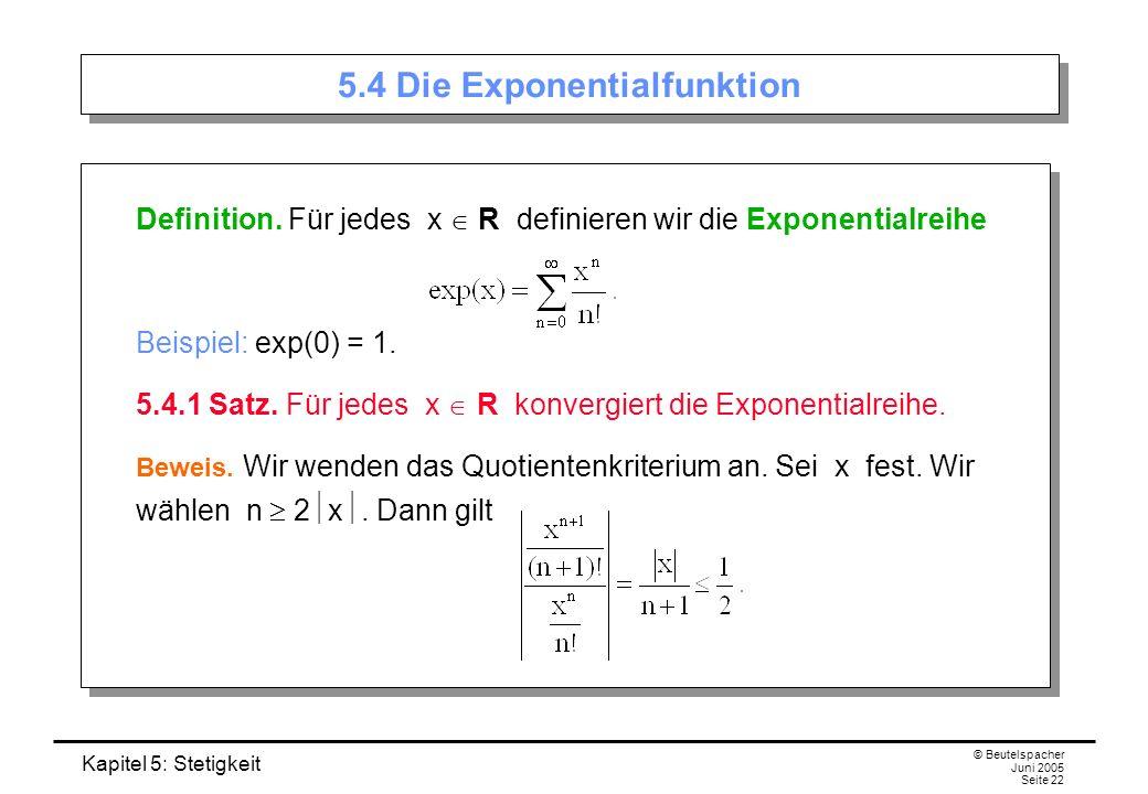 5.4 Die Exponentialfunktion