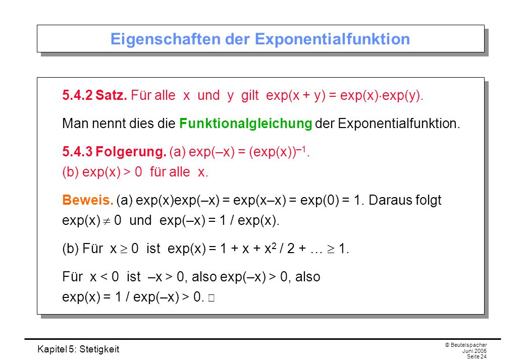 Eigenschaften der Exponentialfunktion