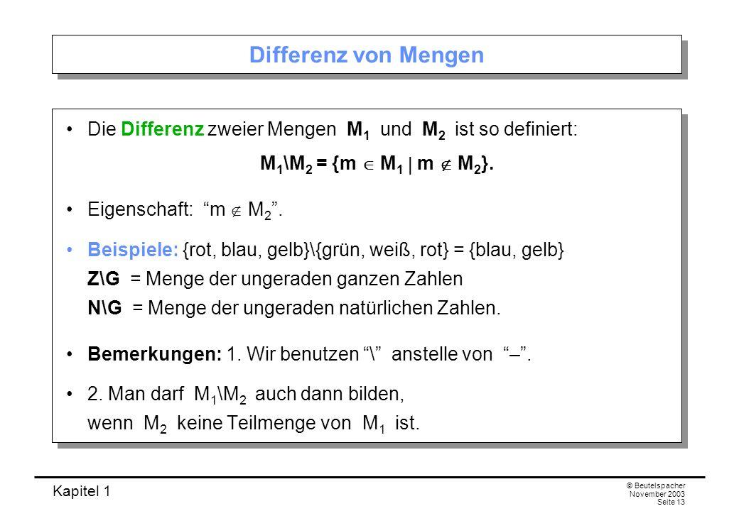 Differenz von Mengen Die Differenz zweier Mengen M1 und M2 ist so definiert: M1\M2 = {m  M1  m  M2}.