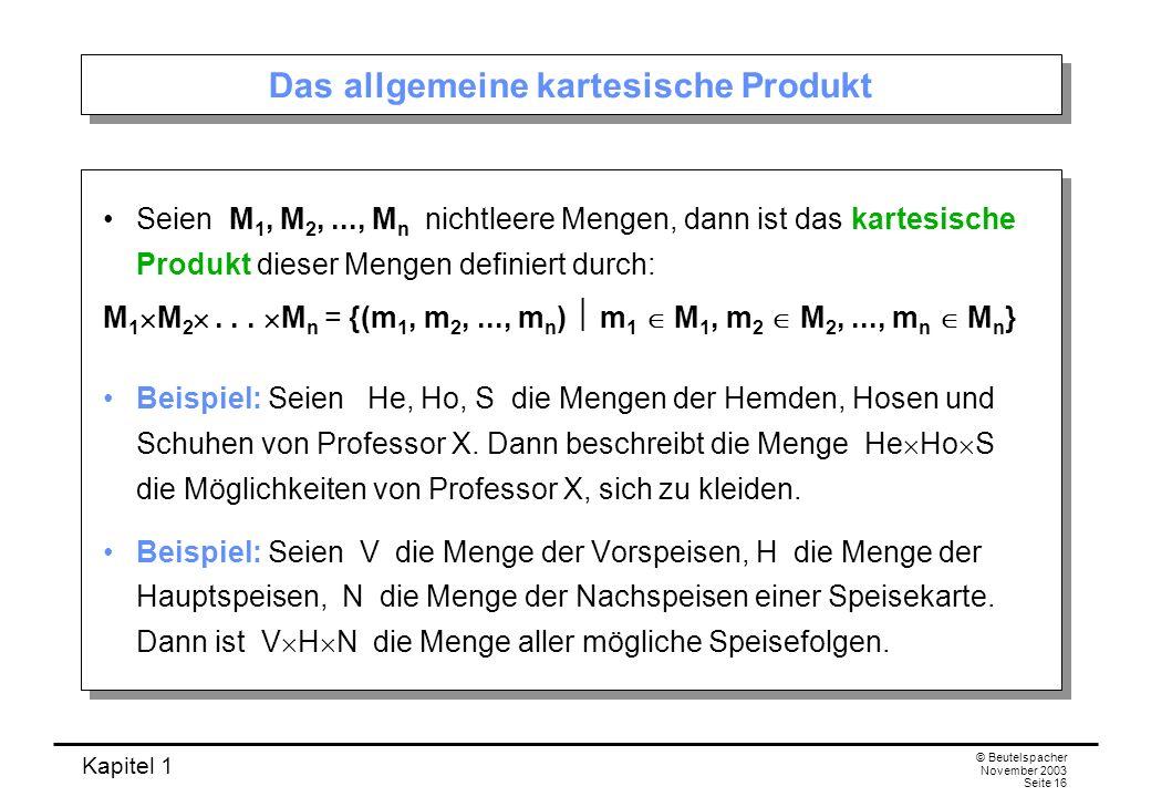 Das allgemeine kartesische Produkt