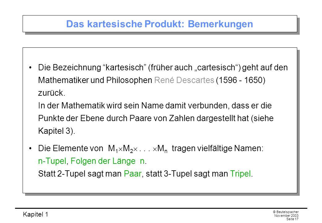 Das kartesische Produkt: Bemerkungen