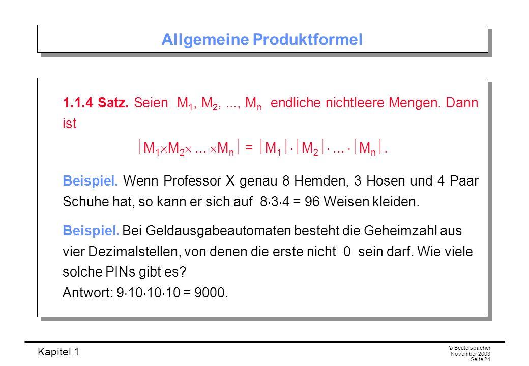 Allgemeine Produktformel