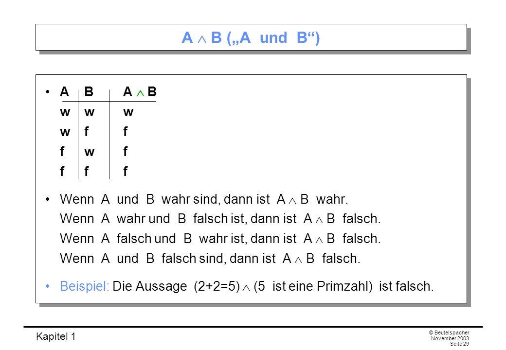 "A  B (""A und B ) A B A  B w w w w f f f w f f f f"
