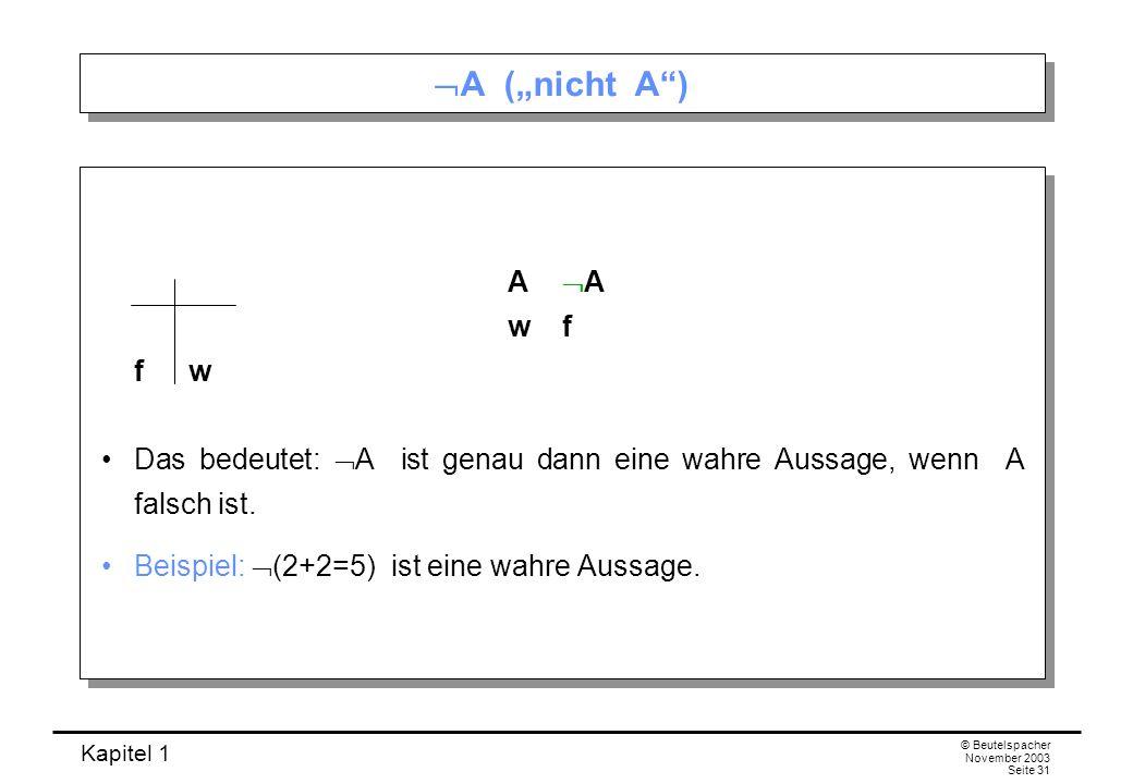 """A (""""nicht A ) A A w f f w. Das bedeutet: A ist genau dann eine wahre Aussage, wenn A falsch ist."""