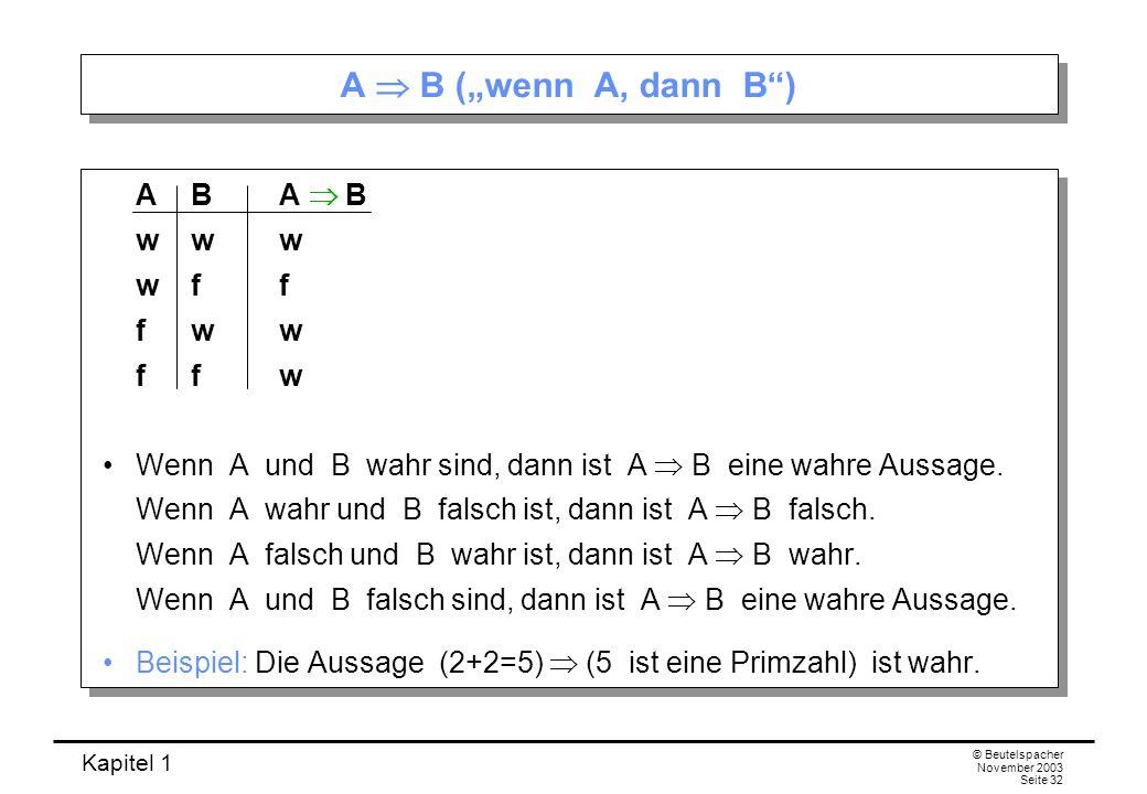 "A  B (""wenn A, dann B ) A B A  B w w w w f f f w w f f w"