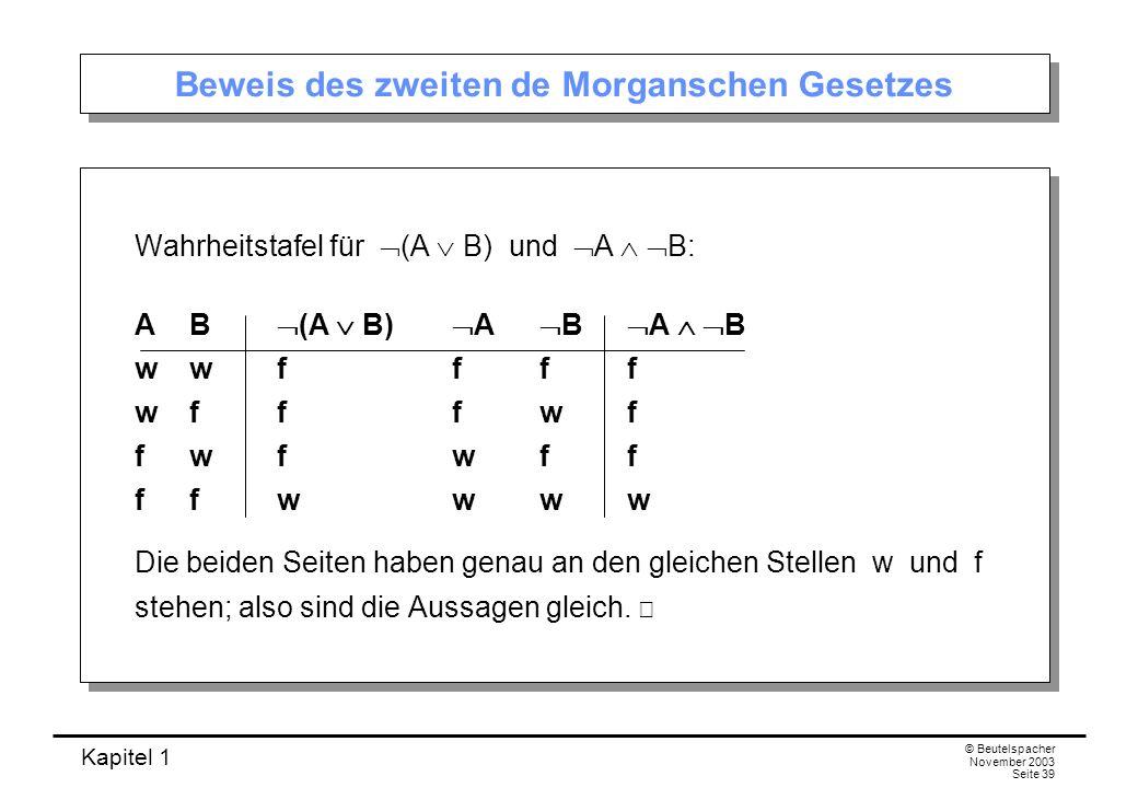 Beweis des zweiten de Morganschen Gesetzes