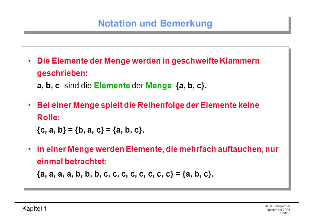 Notation und Bemerkung