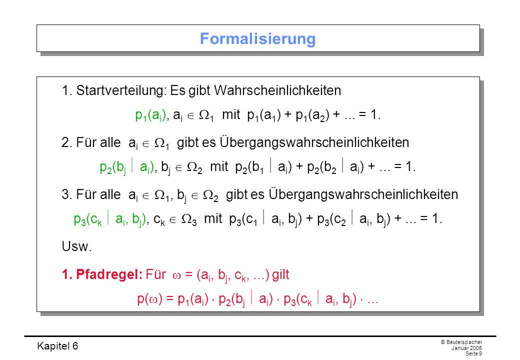 Formalisierung 1. Startverteilung: Es gibt Wahrscheinlichkeiten