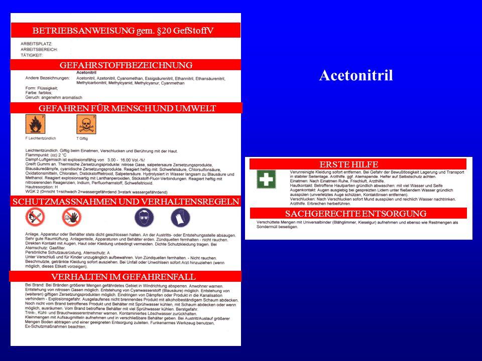 Acetonitril BETRIEBSANWEISUNG gem. §20 GefStoffV