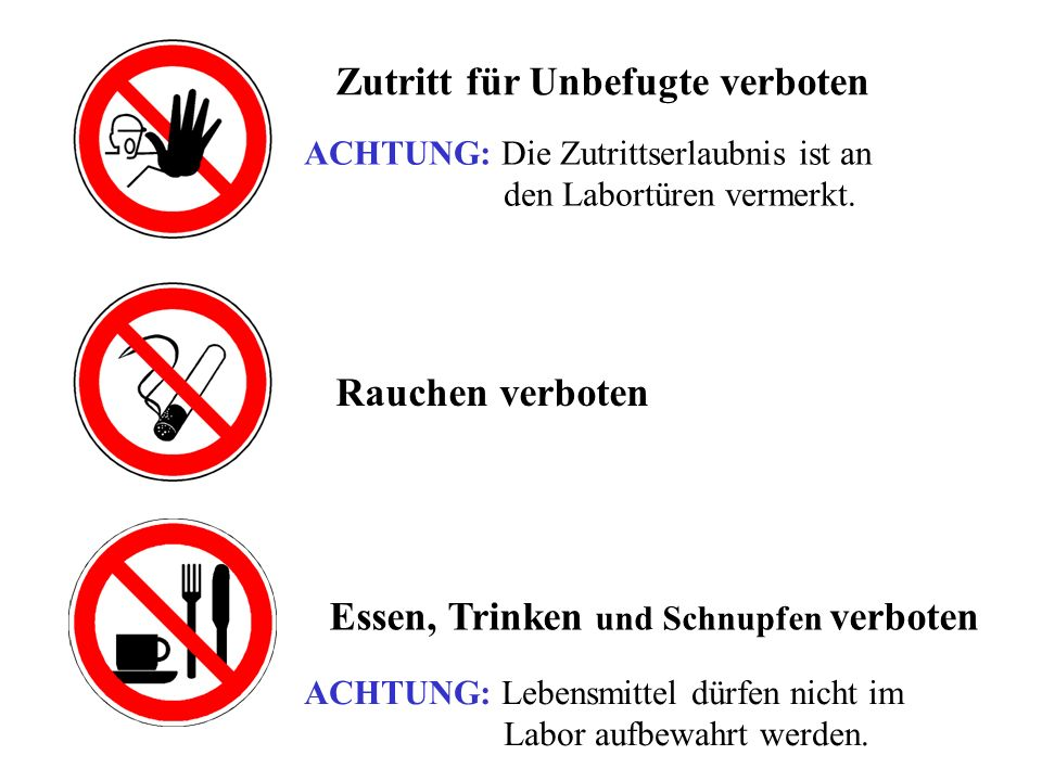 Essen, Trinken und Schnupfen verboten