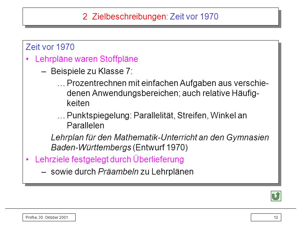 2 Zielbeschreibungen: Zeit vor 1970