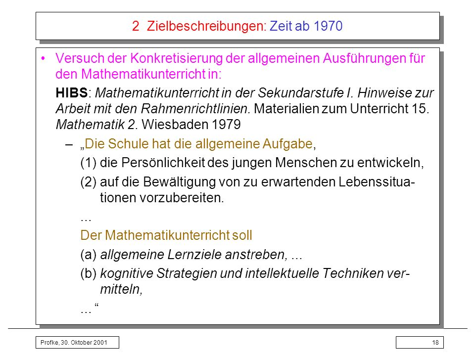 2 Zielbeschreibungen: Zeit ab 1970