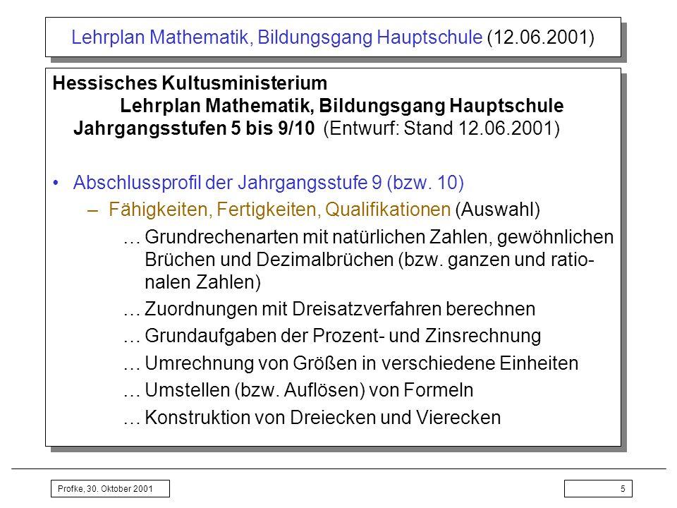 Lehrplan Mathematik, Bildungsgang Hauptschule (12.06.2001)