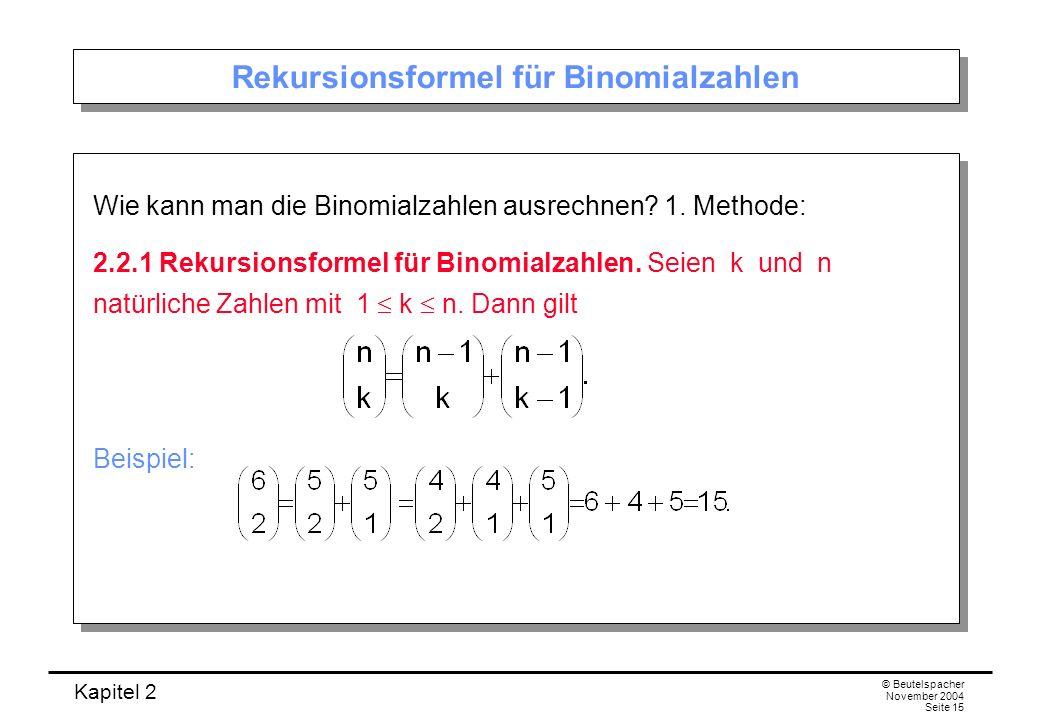 Rekursionsformel für Binomialzahlen