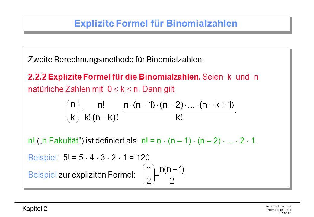 Explizite Formel für Binomialzahlen