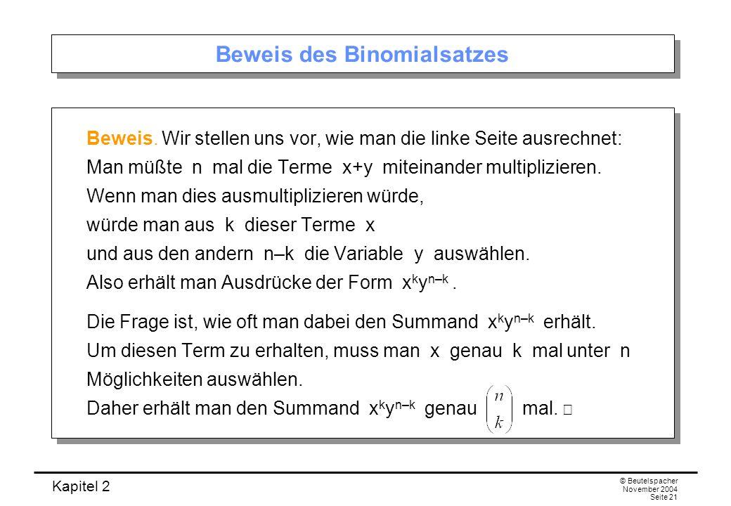 Beweis des Binomialsatzes