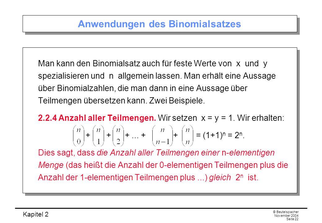 Anwendungen des Binomialsatzes