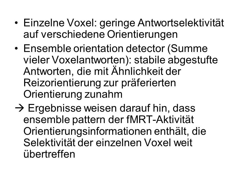 Einzelne Voxel: geringe Antwortselektivität auf verschiedene Orientierungen