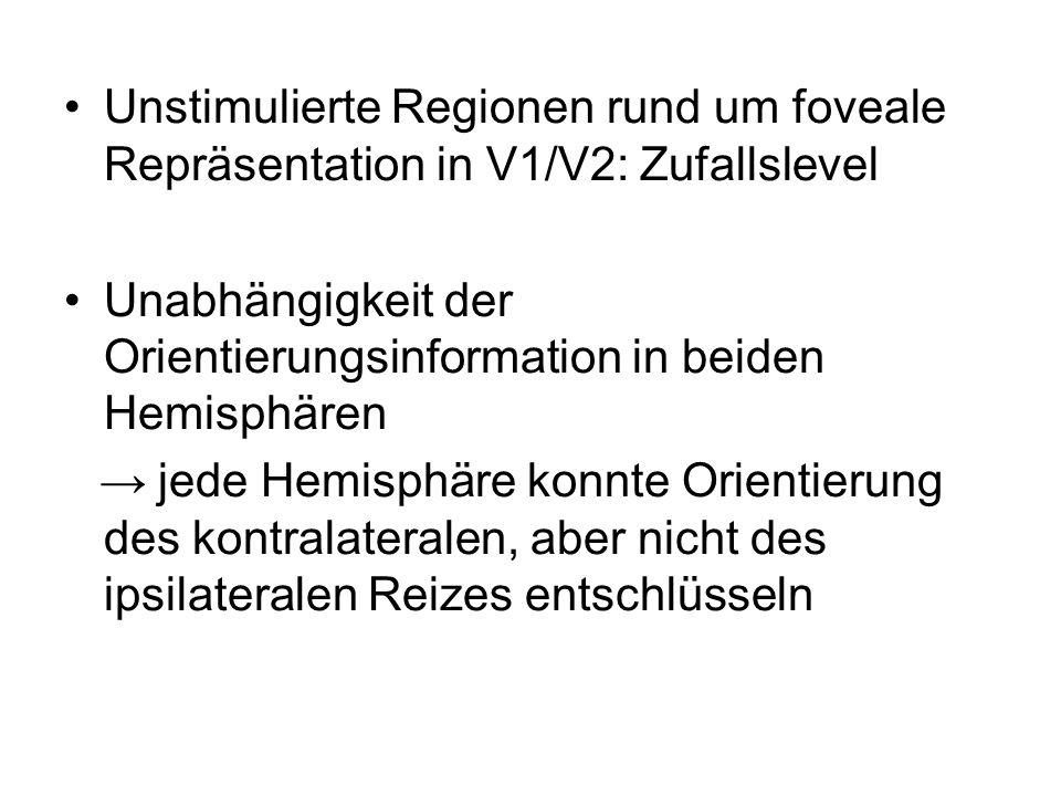 Unstimulierte Regionen rund um foveale Repräsentation in V1/V2: Zufallslevel