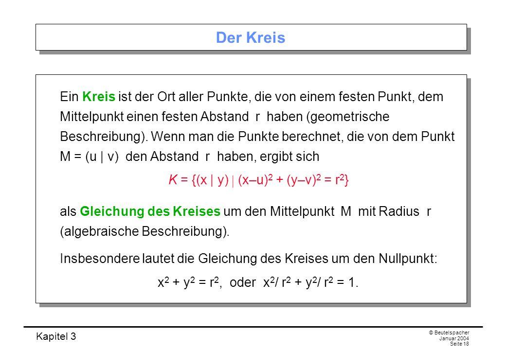 K = {(x | y)  (x–u)2 + (y–v)2 = r2}