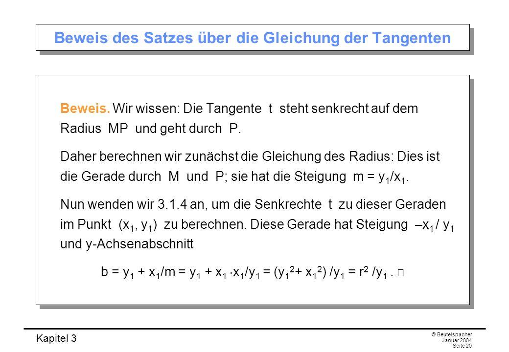 Beweis des Satzes über die Gleichung der Tangenten