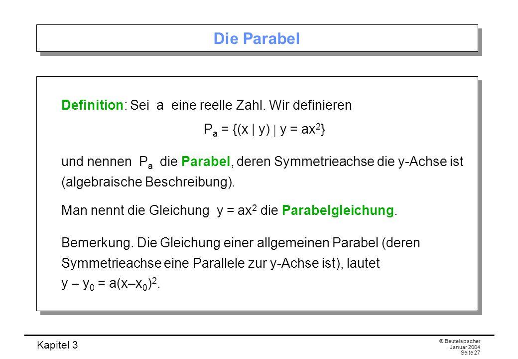 Die Parabel Definition: Sei a eine reelle Zahl. Wir definieren