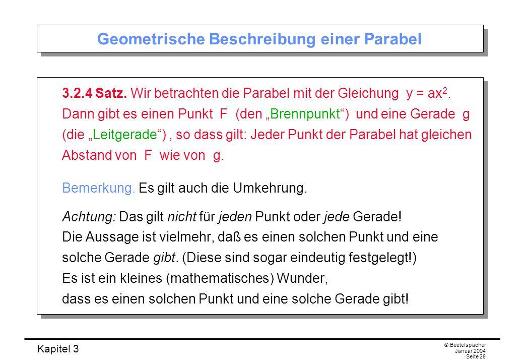 Geometrische Beschreibung einer Parabel