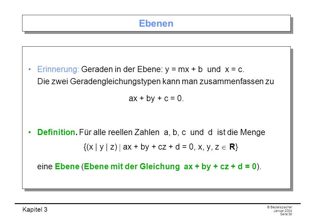 {(x | y | z)  ax + by + cz + d = 0, x, y, z  R}