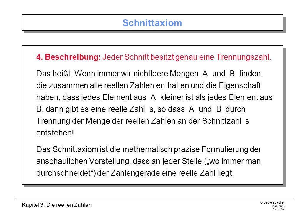 Schnittaxiom 4. Beschreibung: Jeder Schnitt besitzt genau eine Trennungszahl.