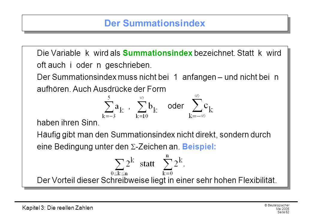 Der Summationsindex