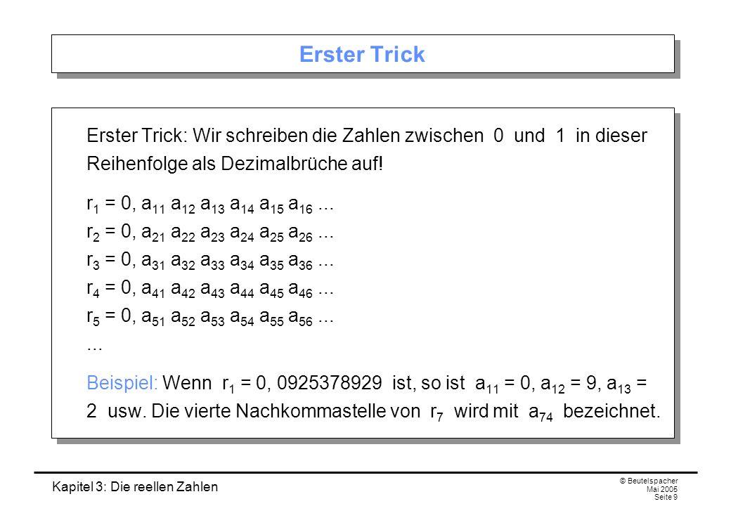 Erster Trick Erster Trick: Wir schreiben die Zahlen zwischen 0 und 1 in dieser Reihenfolge als Dezimalbrüche auf!