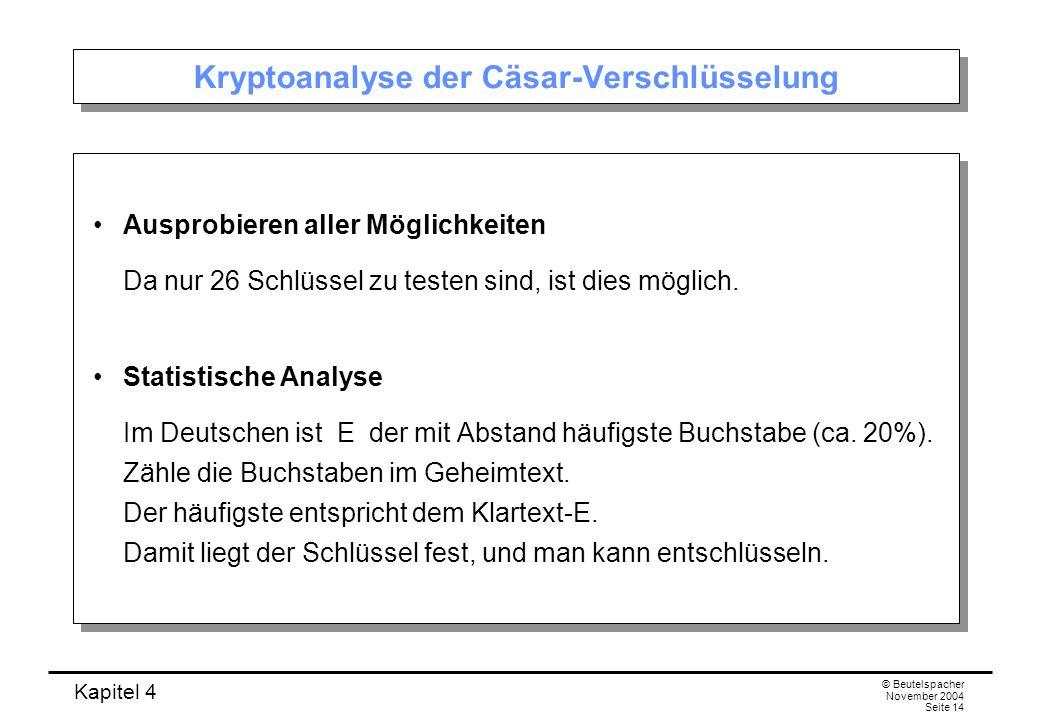 Kryptoanalyse der Cäsar-Verschlüsselung