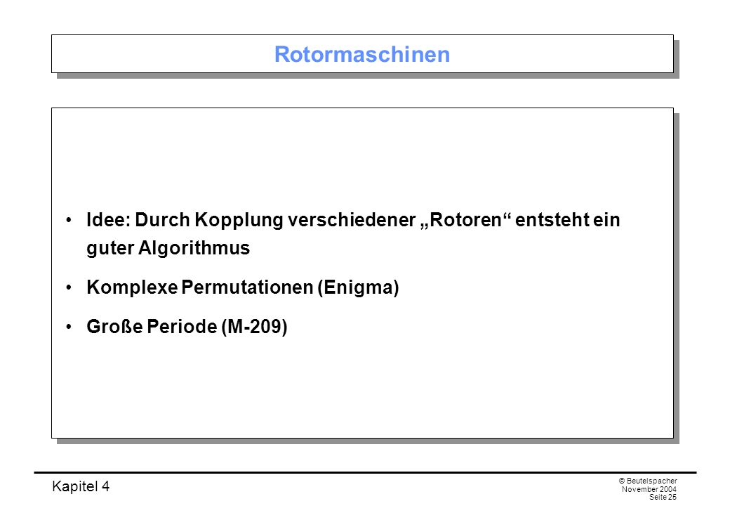 """Rotormaschinen Idee: Durch Kopplung verschiedener """"Rotoren entsteht ein guter Algorithmus. Komplexe Permutationen (Enigma)"""