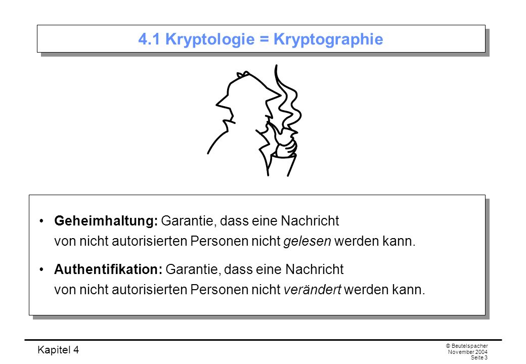 4.1 Kryptologie = Kryptographie