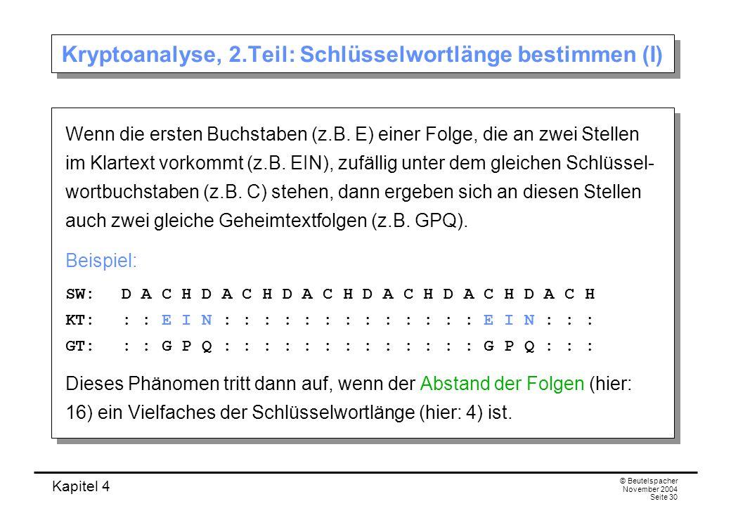 Kryptoanalyse, 2.Teil: Schlüsselwortlänge bestimmen (I)