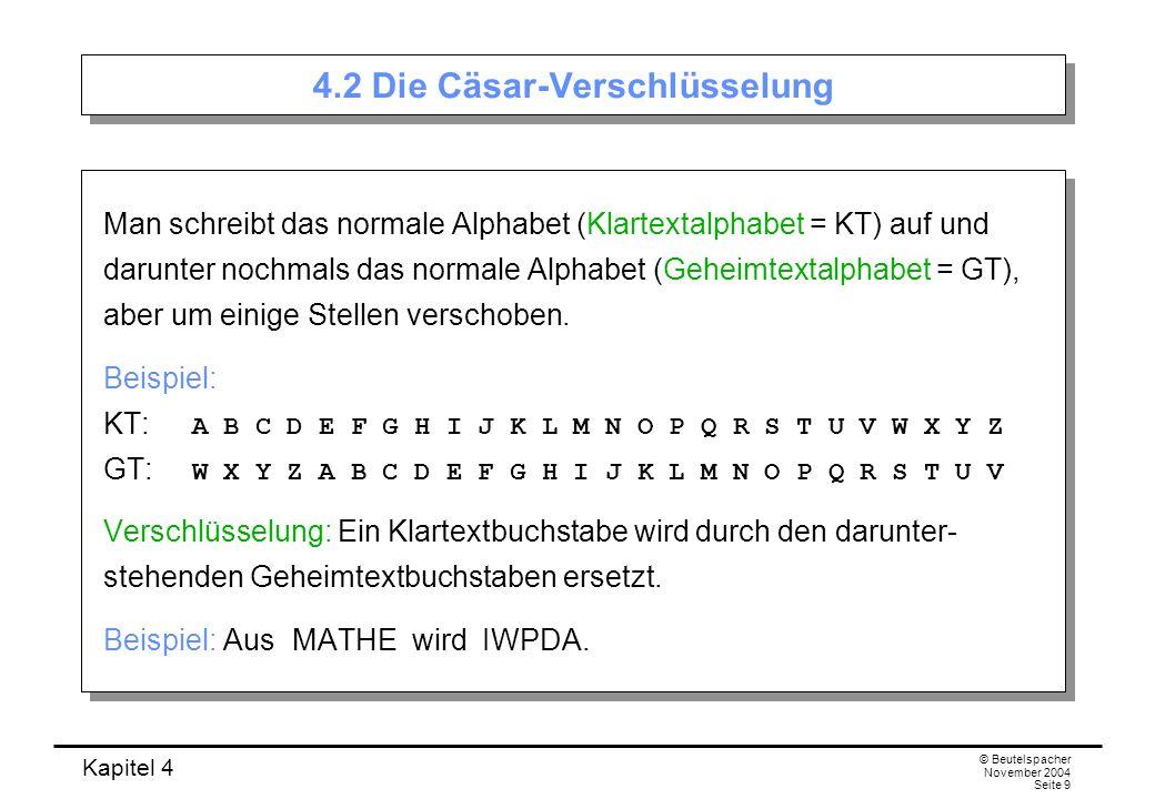 4.2 Die Cäsar-Verschlüsselung