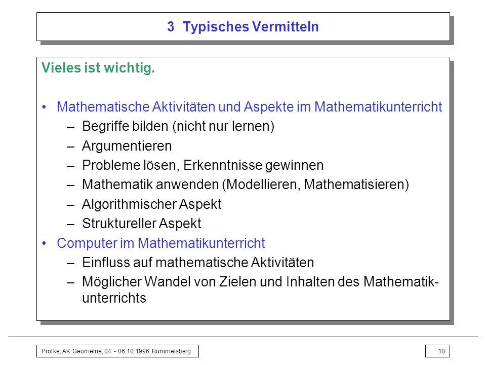 Mathematische Aktivitäten und Aspekte im Mathematikunterricht