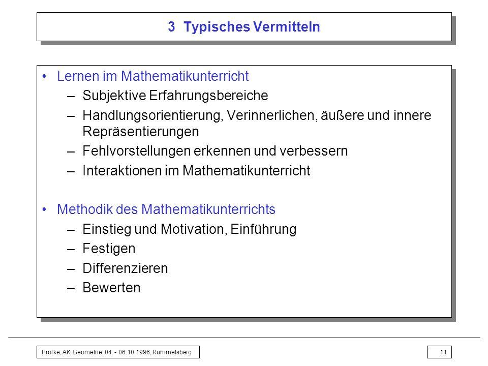 Lernen im Mathematikunterricht Subjektive Erfahrungsbereiche
