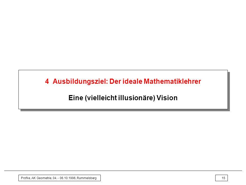 4 Ausbildungsziel: Der ideale Mathematiklehrer Eine (vielleicht illusionäre) Vision