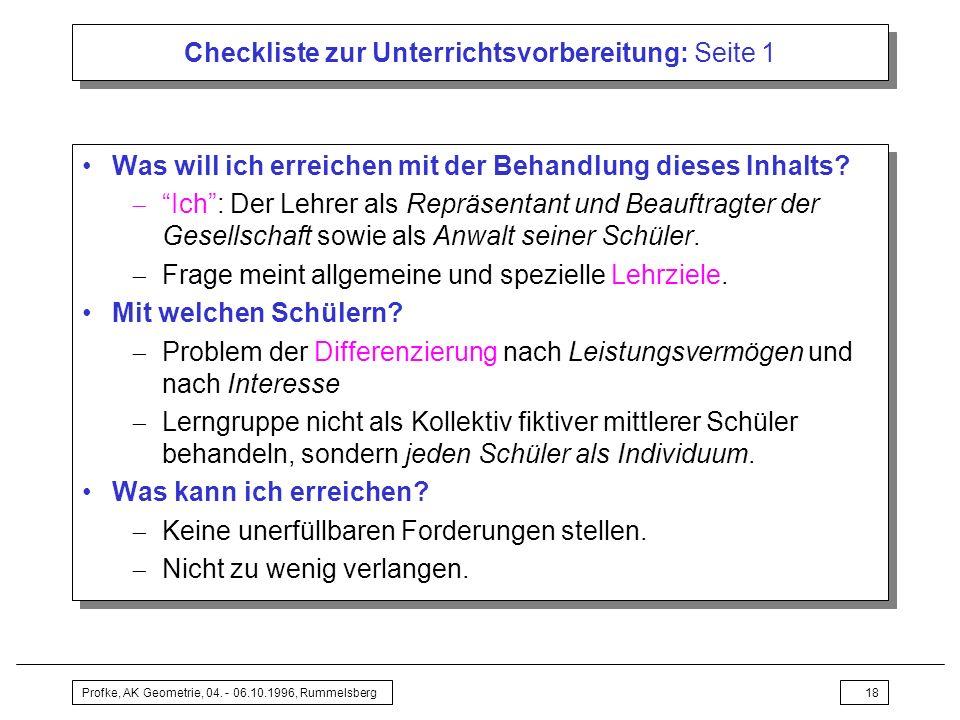 Checkliste zur Unterrichtsvorbereitung: Seite 1