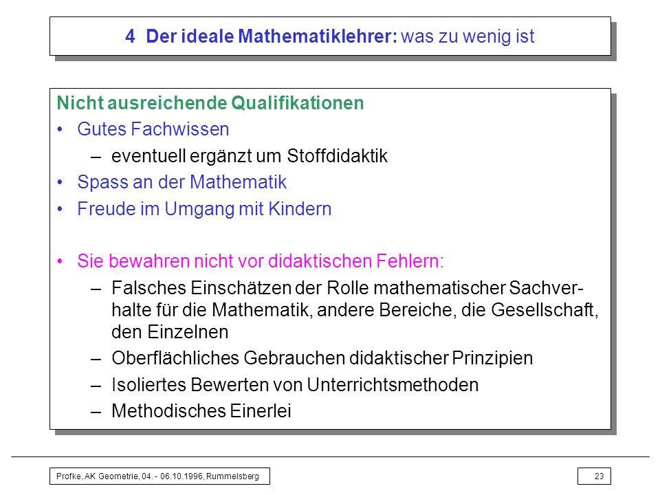 4 Der ideale Mathematiklehrer: was zu wenig ist