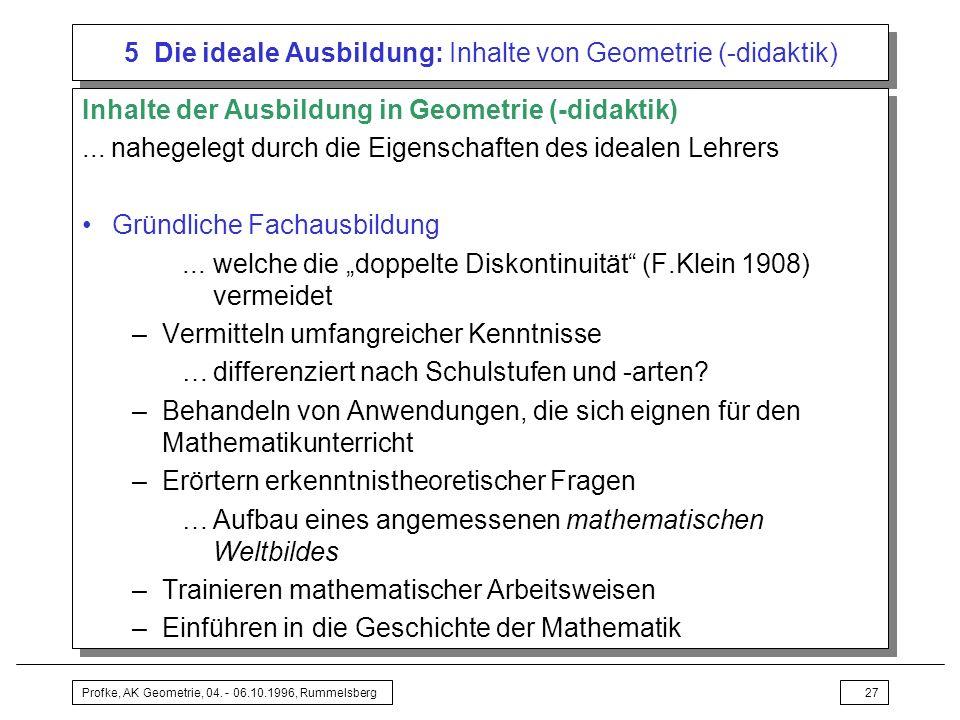 5 Die ideale Ausbildung: Inhalte von Geometrie (-didaktik)