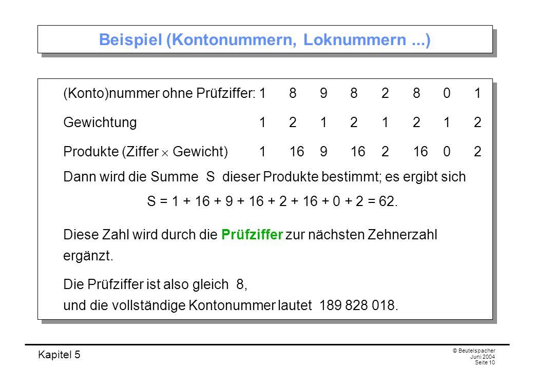 Beispiel (Kontonummern, Loknummern ...)