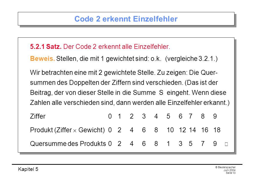 Code 2 erkennt Einzelfehler