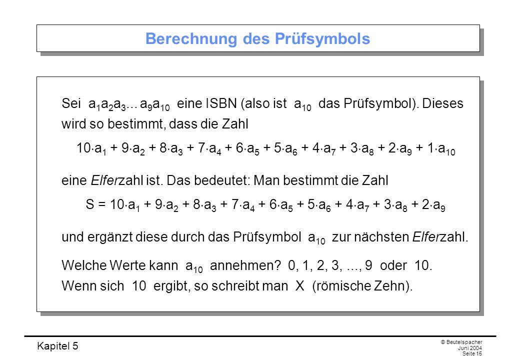 Berechnung des Prüfsymbols
