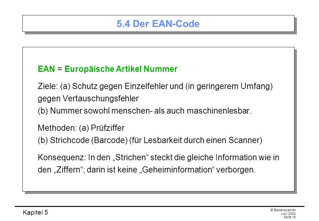 5.4 Der EAN-Code EAN = Europäische Artikel Nummer
