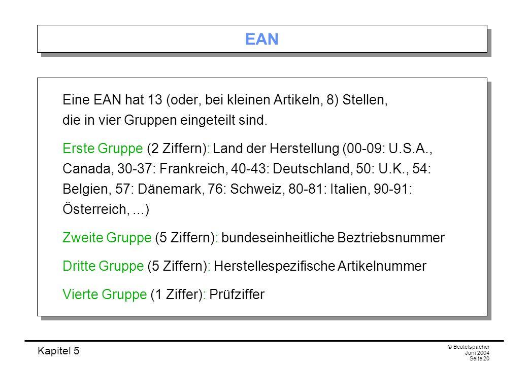 EAN Eine EAN hat 13 (oder, bei kleinen Artikeln, 8) Stellen, die in vier Gruppen eingeteilt sind.