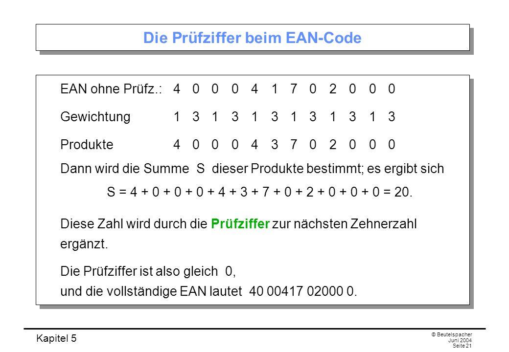 Die Prüfziffer beim EAN-Code